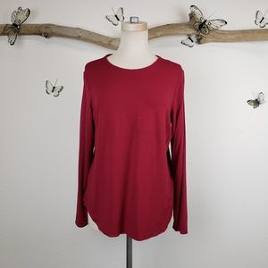 Eileen Fisher scoop hem long sleeve tee